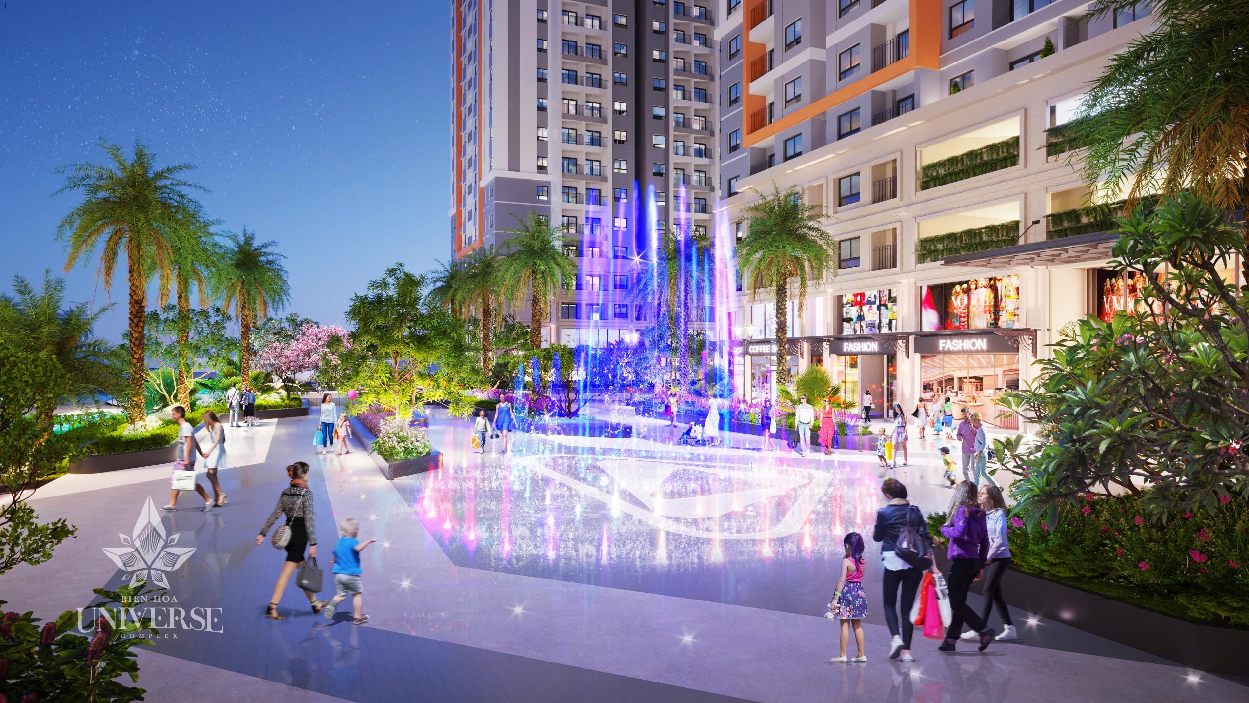 Quảng trường nhạc nước ngay cổng chính vào dự án BIen Hoa Universe