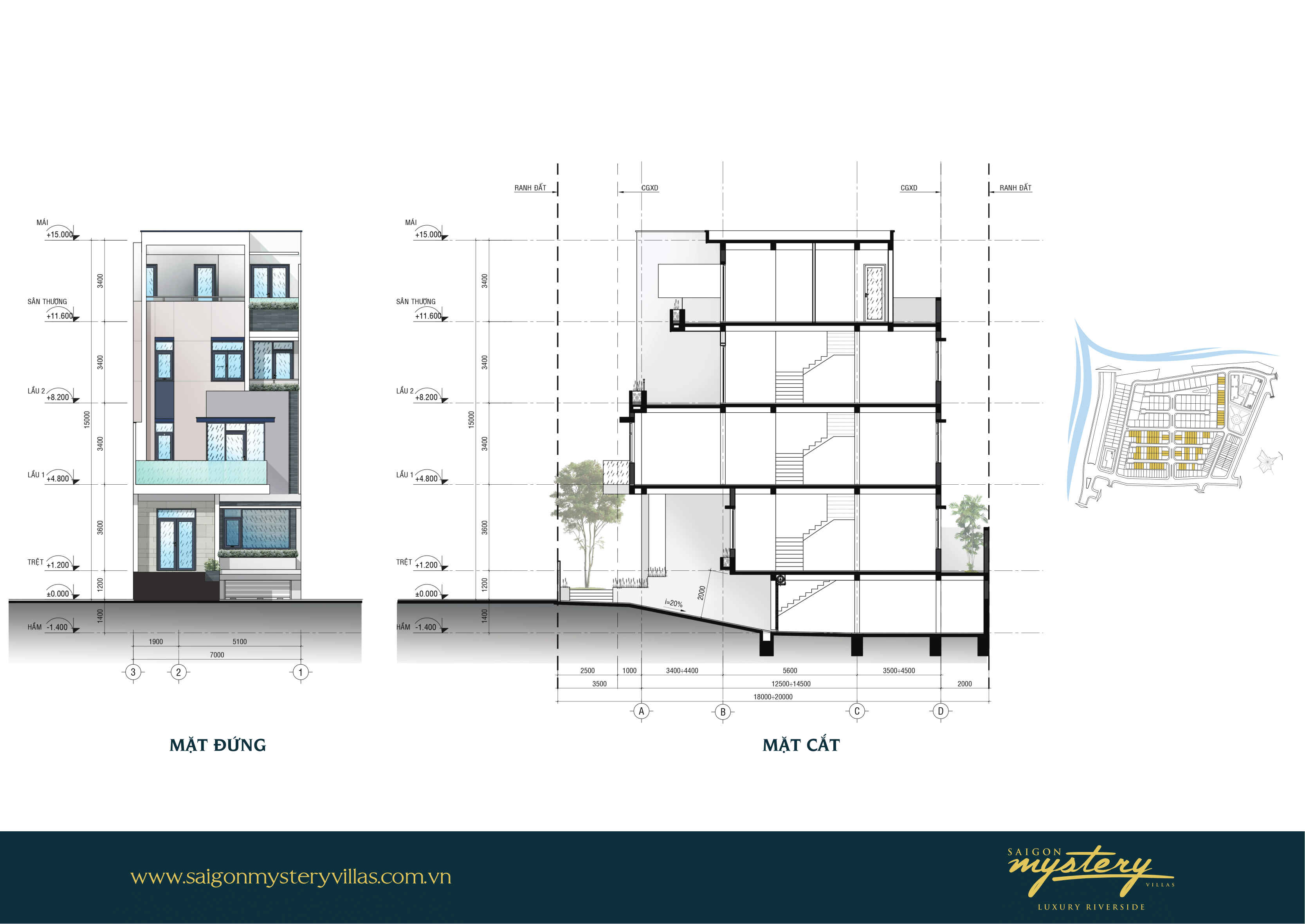 Mẫu nhà phố liên kế LK-M01 Saigon Mystery Villas Quận 2