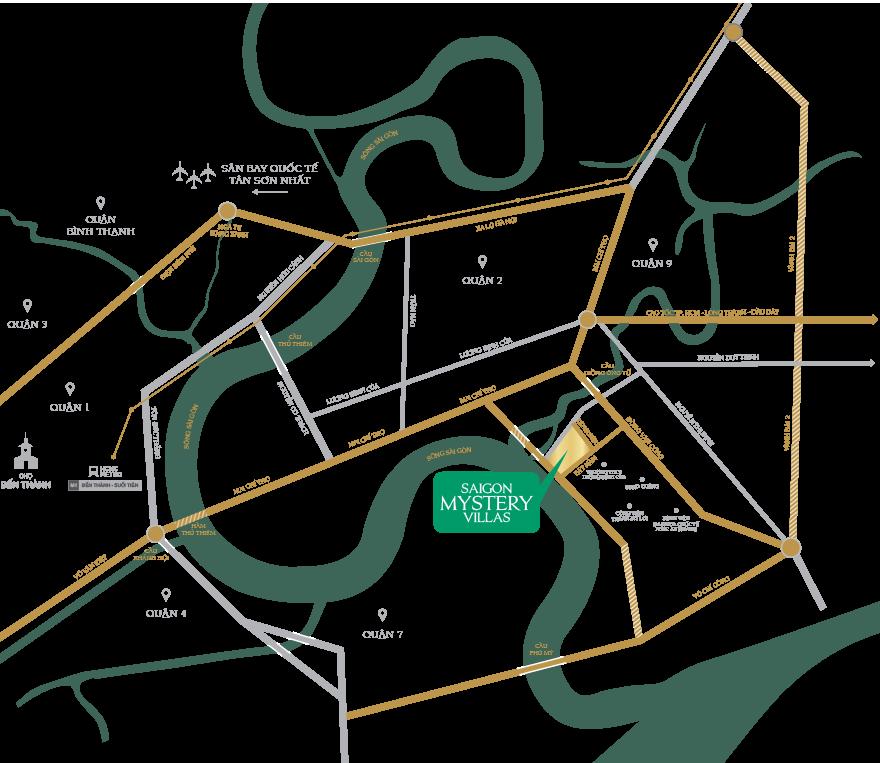 Vị trí dự án khu biệt thự compound Saigon Mystery Villas quận 2 Hưng Thịnh