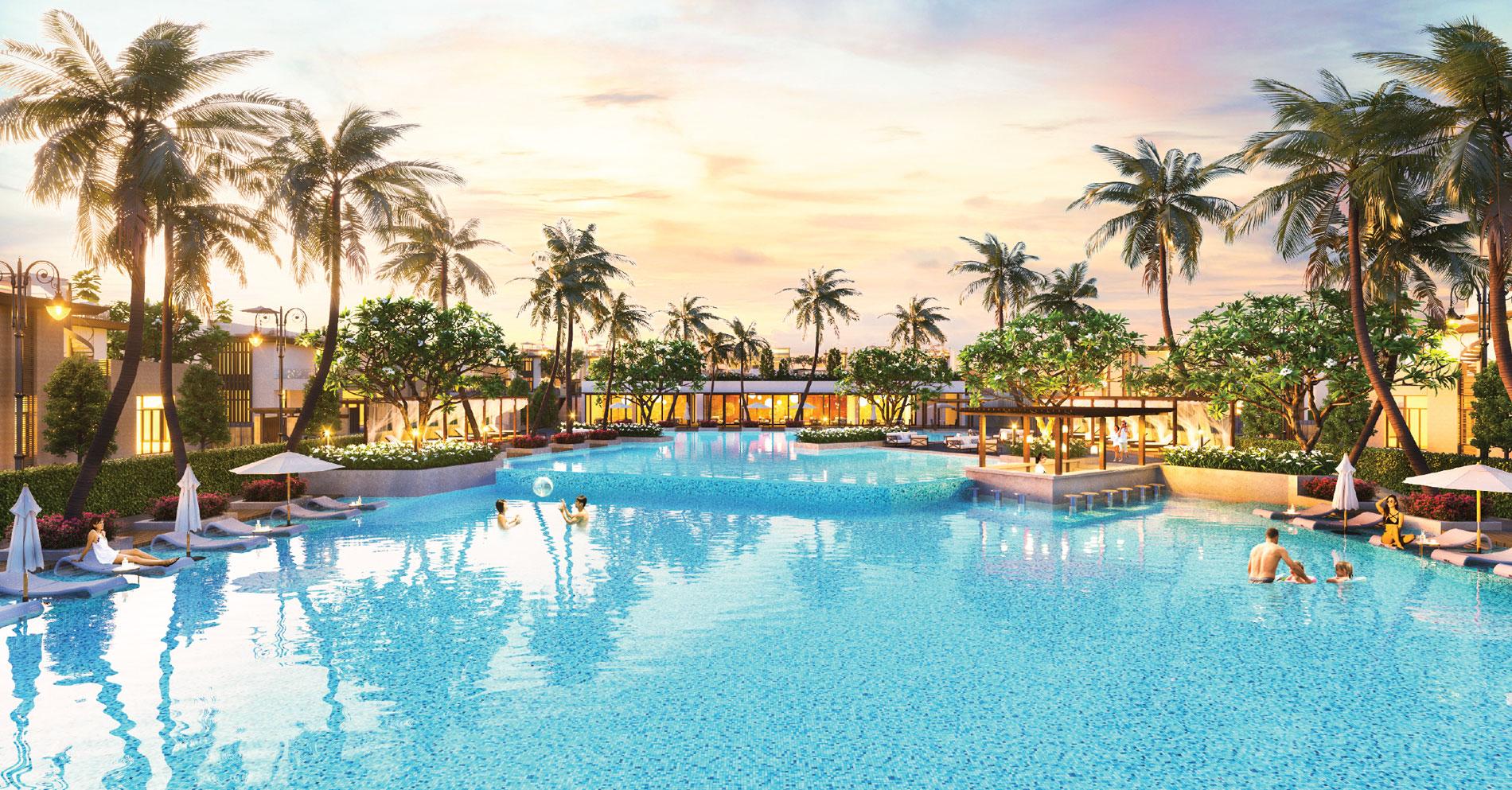 Hồ bơi tràn bờ nước mặn rộng 1260m2 tại dự án Cam Ranh Mystery Villas Hưng Thịnh