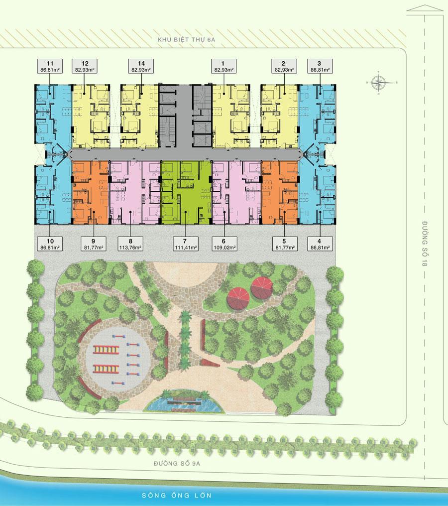 Mặt bằng tầng 2-3 điển hình dự án Citizents Khu Trung Sơn Hưng Thịnh