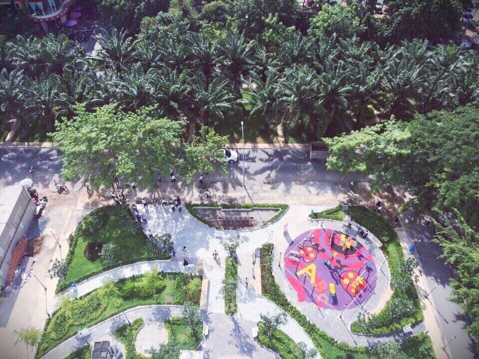 Từ trên cao căn hộ Citizents Khu Trung Sơn nhìn xuống công viên nội khu