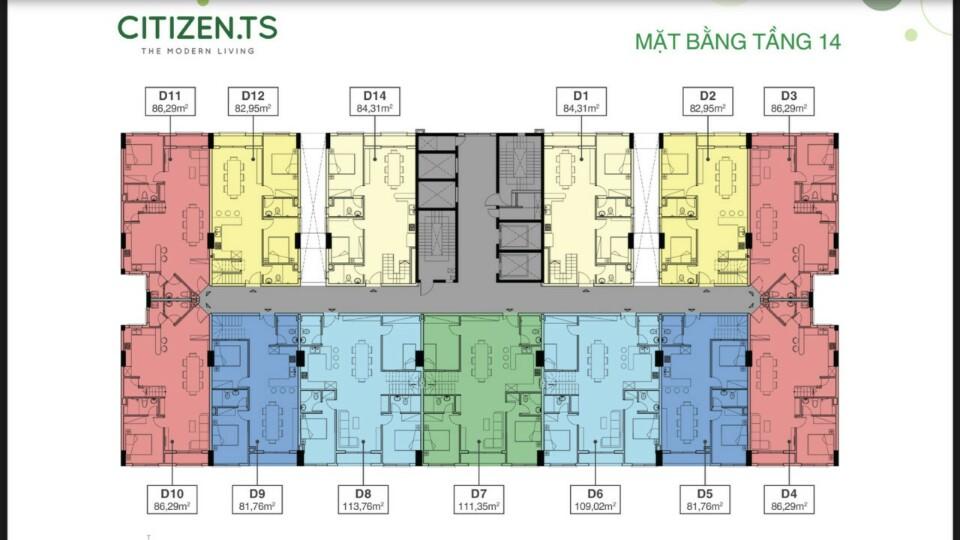 Mặt bằng tầng 14 dự án Citizents Khu Trung Sơn Hưng Thịnh
