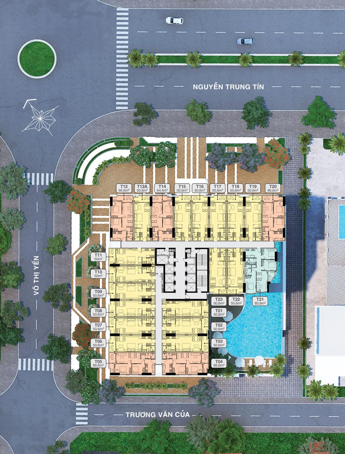 Mặt bằng tầng 10 -29 căn tệt thương mại block Tropical