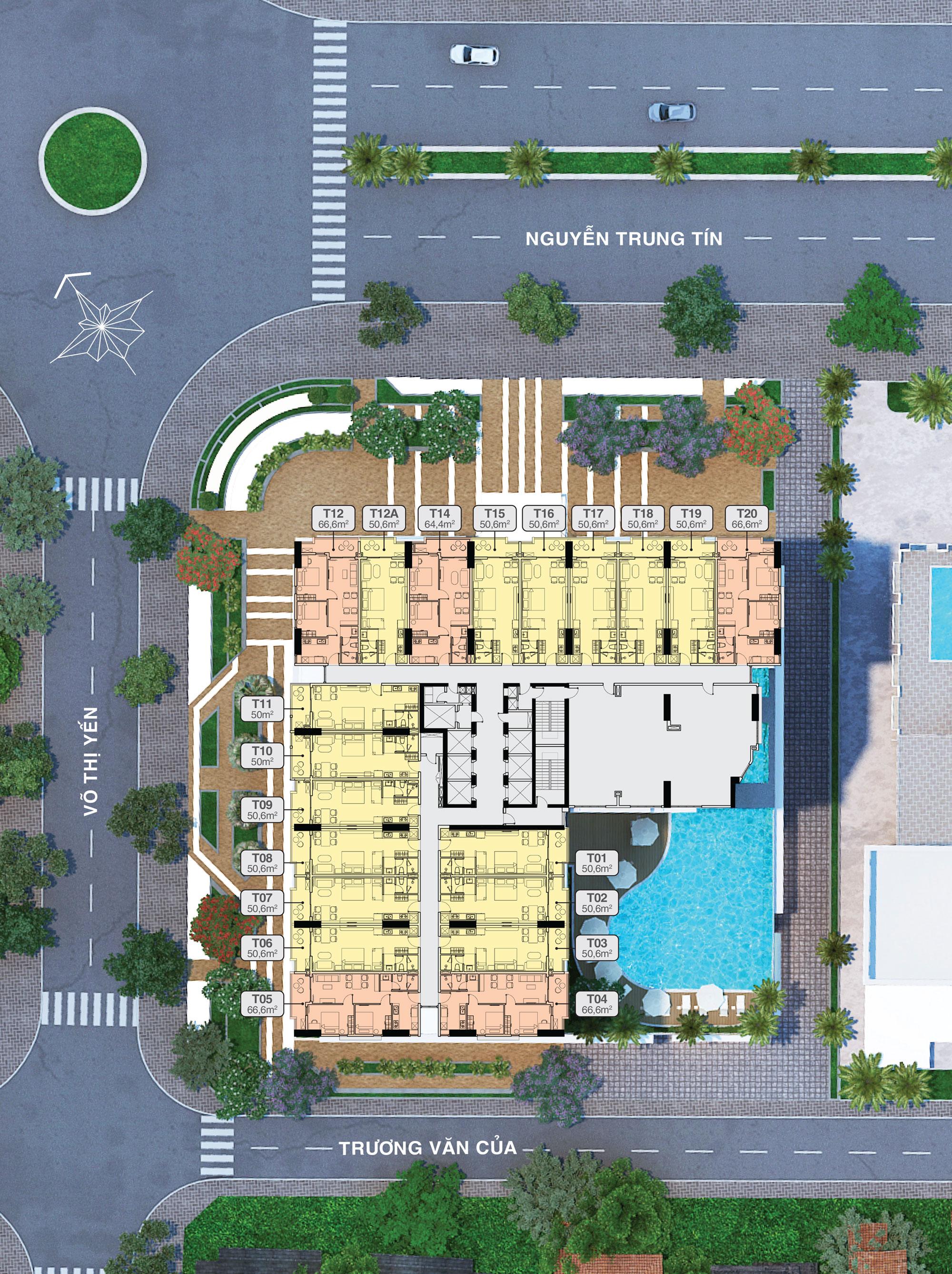 Mặt bằng tầng 19 căn tệt thương mại block Tropical