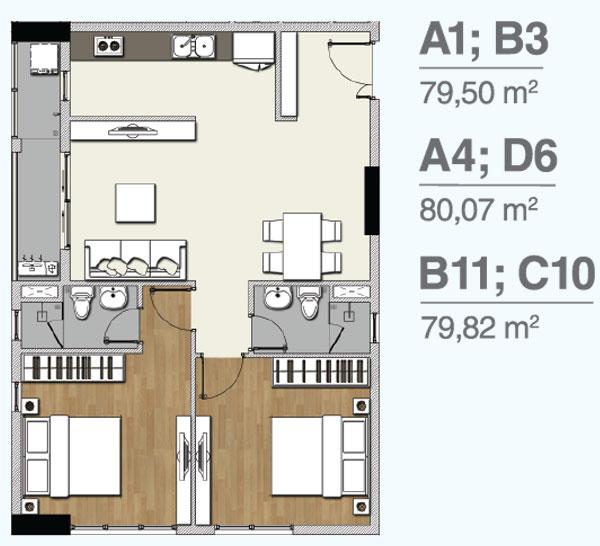 Mẫu căn hộ 2 PN dự án Florita Quận 7