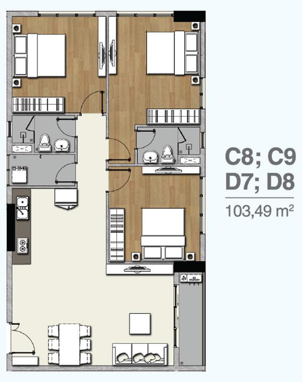 Mẫu căn hộ 3 PN dự án Florita Quận 7