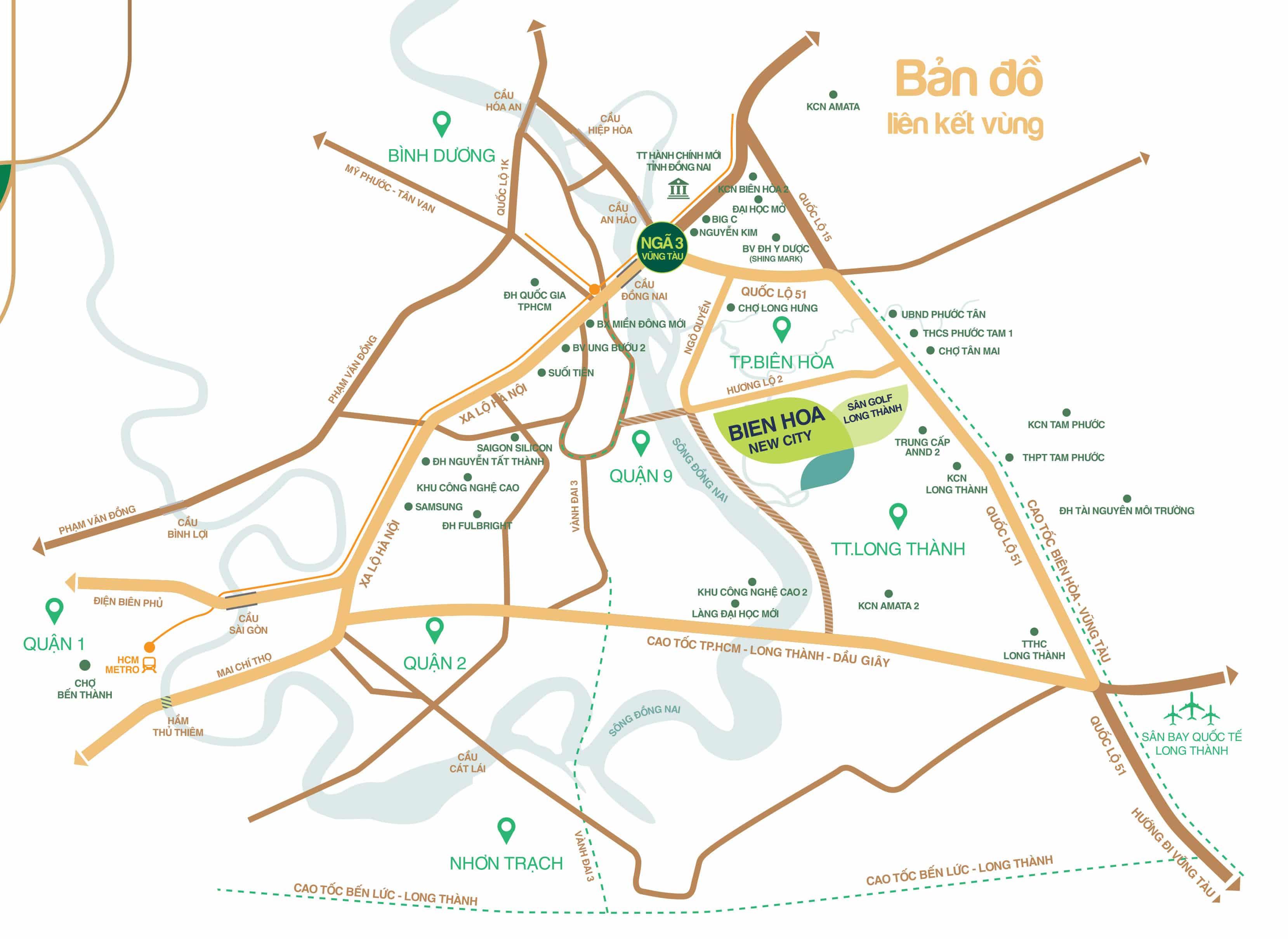 Vị trí dự án Bien Hoa New City Hưng Thịnh