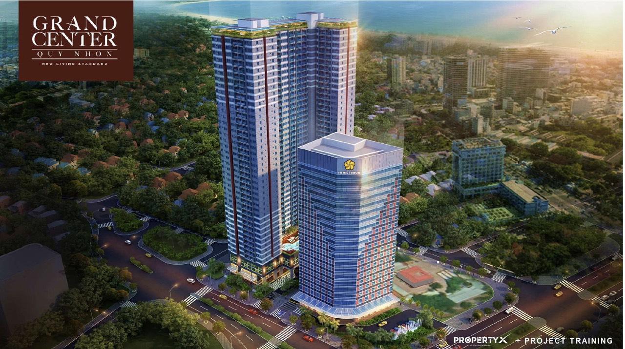 Phối cảnh thổng thể khu căn hộ, tổ hợp văn phòng Grand Center Quy Nhơn Hưng Thịnh