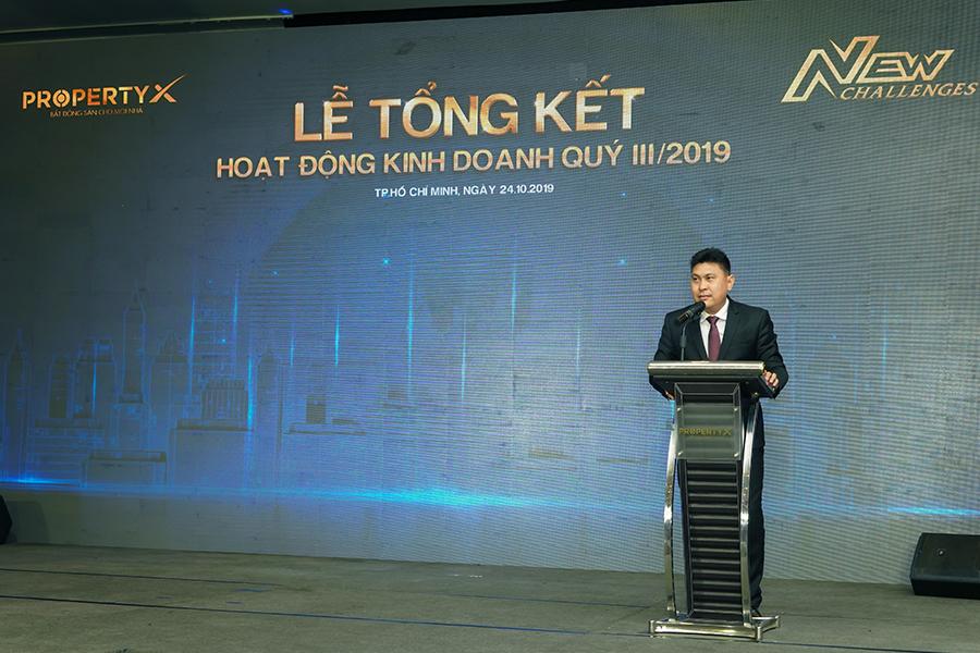 Ông Nguyễn Nam Hiền – Phó Tổng Giám đốc Tập đoàn Hưng Thịnh, kiêm Tổng Giám đốc PropertyX  phát biểu kết thúc Lễ tổng kết hoạt động kinh doanh Quý III/2019