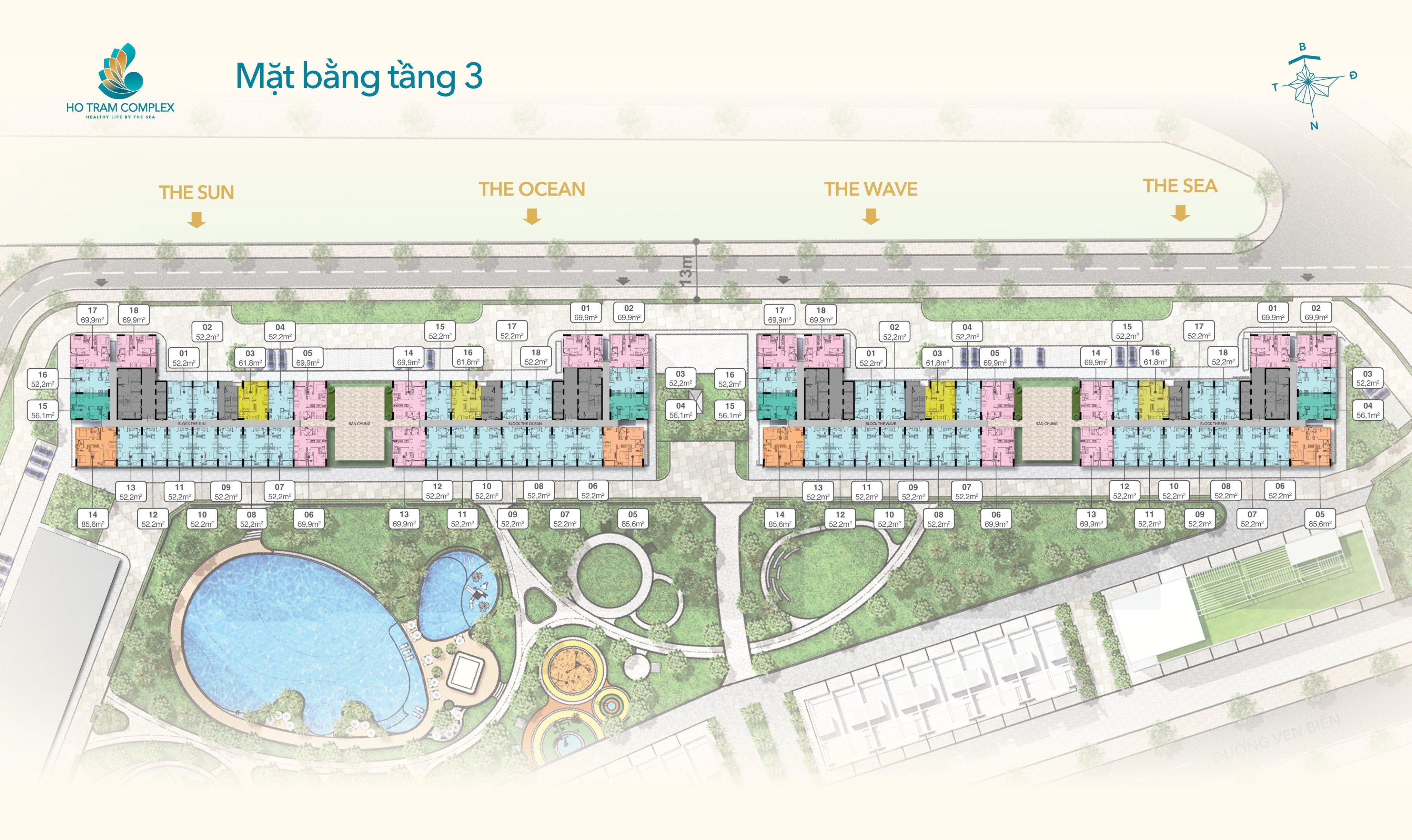 Mặt bằng tầng 3 dự án Ho Tram Complex