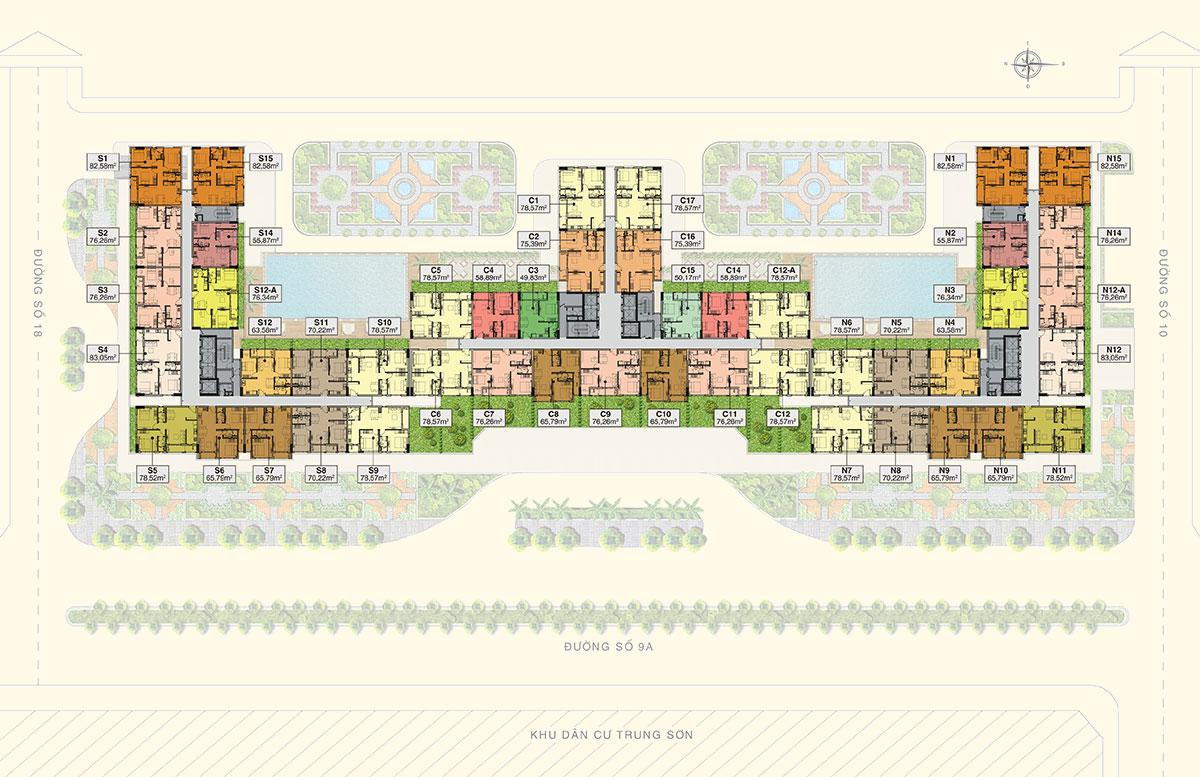 SaigonMia là 1 trong rất ít dự án tại khu Trung Sơn sở hữu vị trí hiếm có khi tọa lạc tại đường Nguyễn Văn Cừ nối dài và có 3 mặt view sông