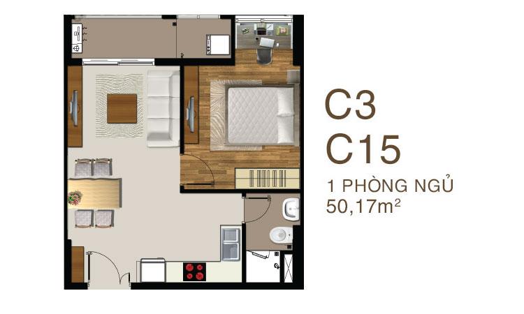 Mẫu căn hộ 1 PN dự án Saigon Mia Quận 7