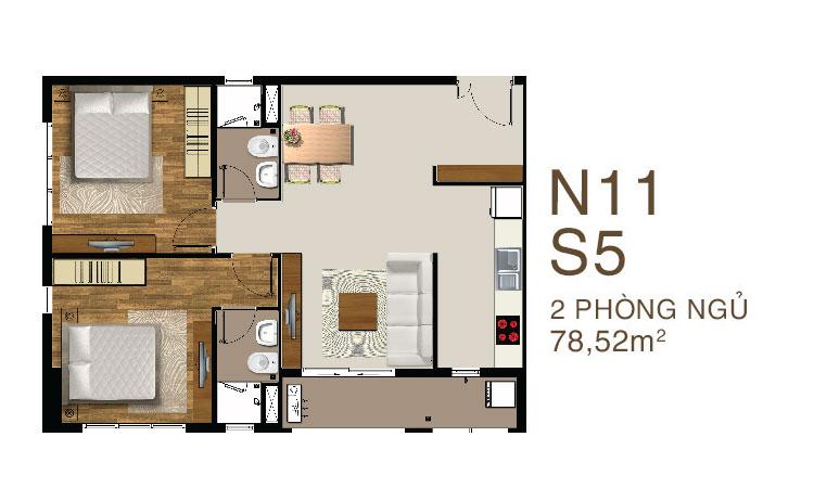 Mẫu căn hộ 2 PN dự án Saigon Mia quận 7