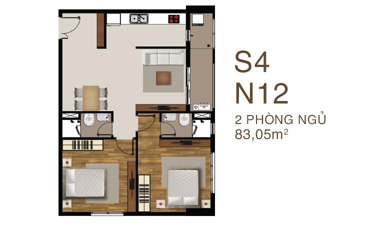 Mẫu căn hộ mẫu 3 PN dự án Saigon Mia Quận 7