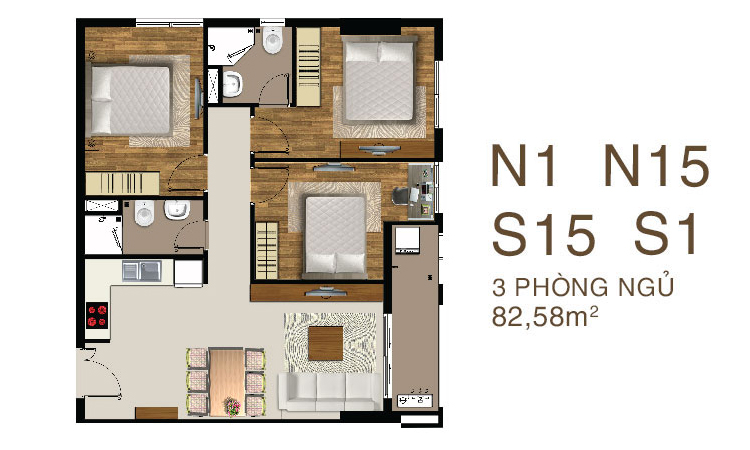Mẫu căn hộ 3 PN dự án Saigon Mia Quận 7