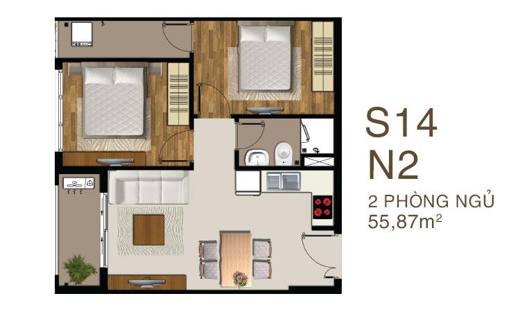 Mẫu căn hộ 2 PN 1 WC dự án Saigon Mia quận 7