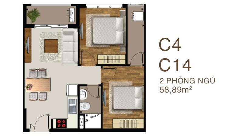 Mẫu căn hộ 2 PN 1WC dự án Saigon Mia quận 7