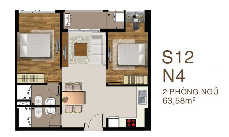 Mẫu căn hộ mẫu 2 PN dự án Saigon MIa quận 7