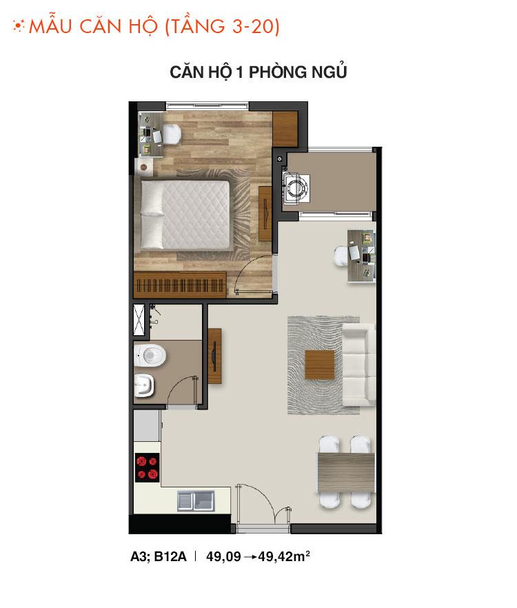 Mẫu căn hộ 1 PN dự án Moonlight Residences quận Thủ Đức