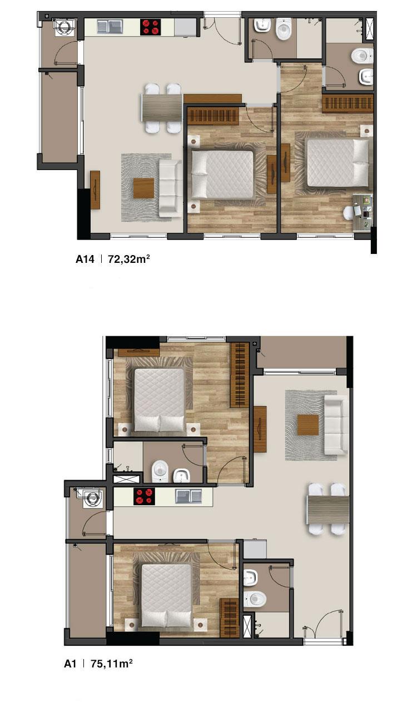 Mẫu căn hộ 2PN dự án Moonlight Residences quận Thủ Đức