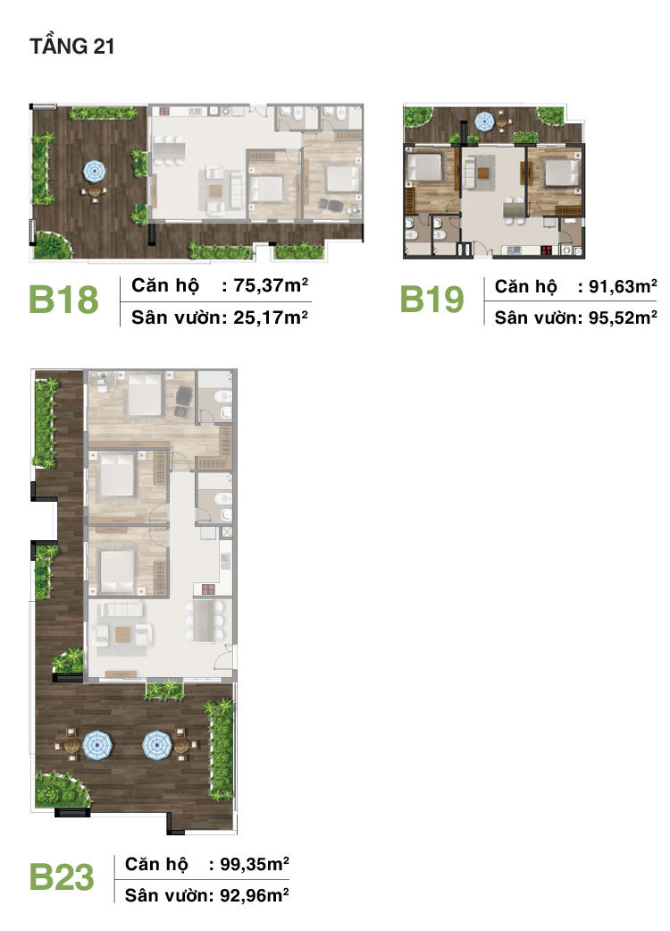 Mẫu căn hộ sân vườn tầng 21 dự án Moonlight Residences quận Thủ Đức