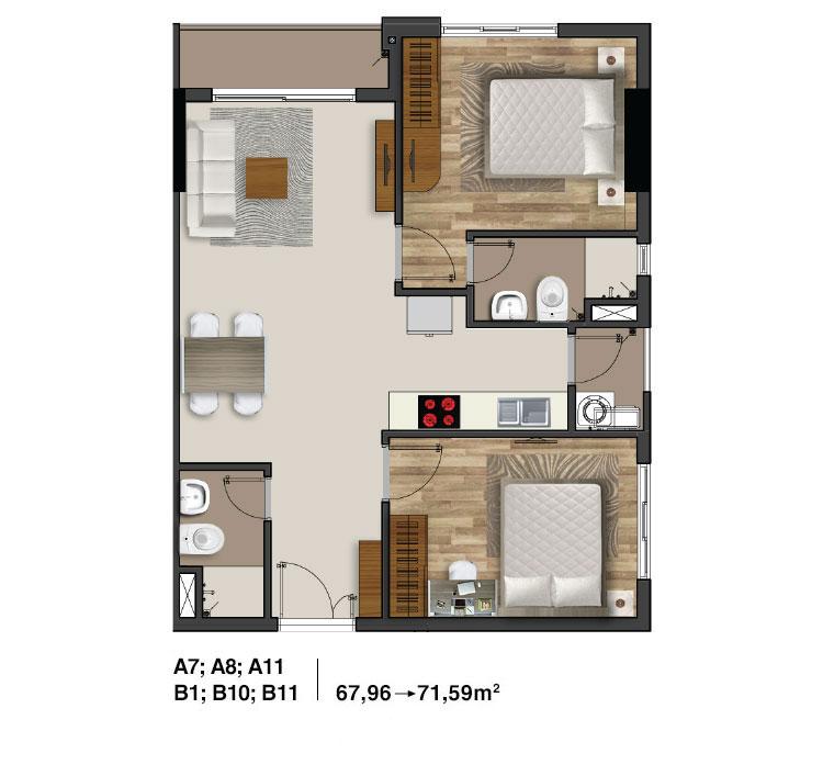 Mẫu căn hộ 2 PN dự án Moonlight Residences quận Thủ Đức