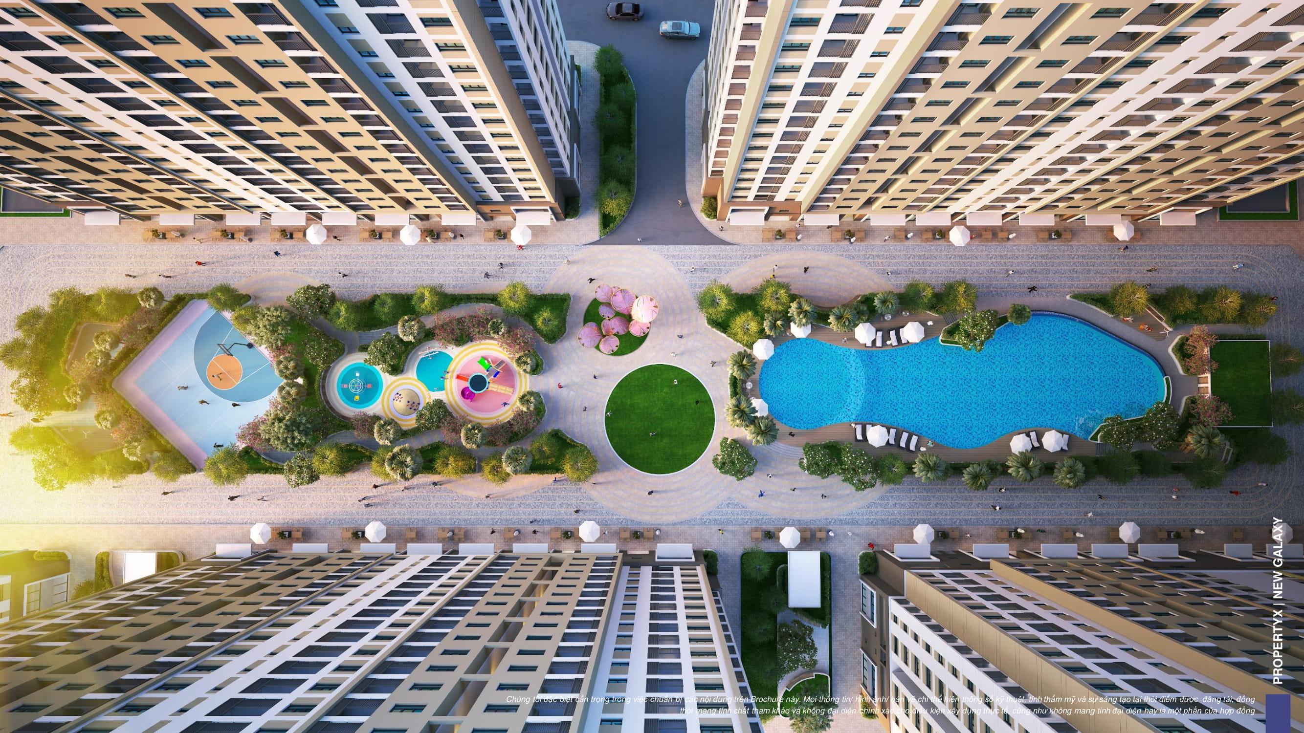 Tổng thể tiện ích nội khu dự án căn hộ New Galaxy nhìn từ trên cao nhìn xuống