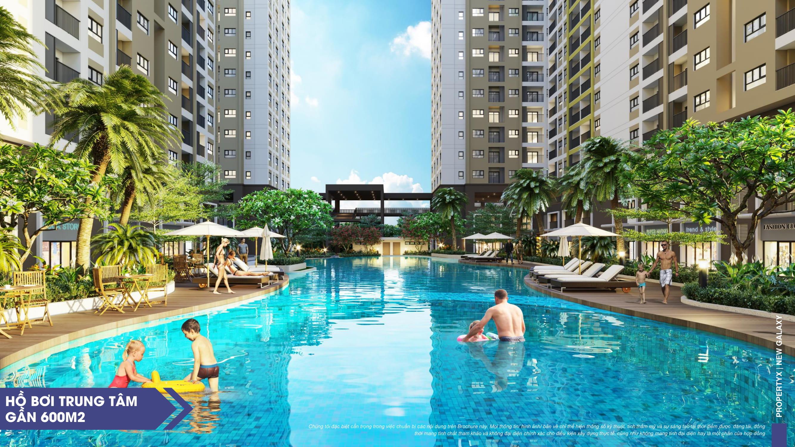 Hồ bơi nội khu dự án căn hộ New Galaxy