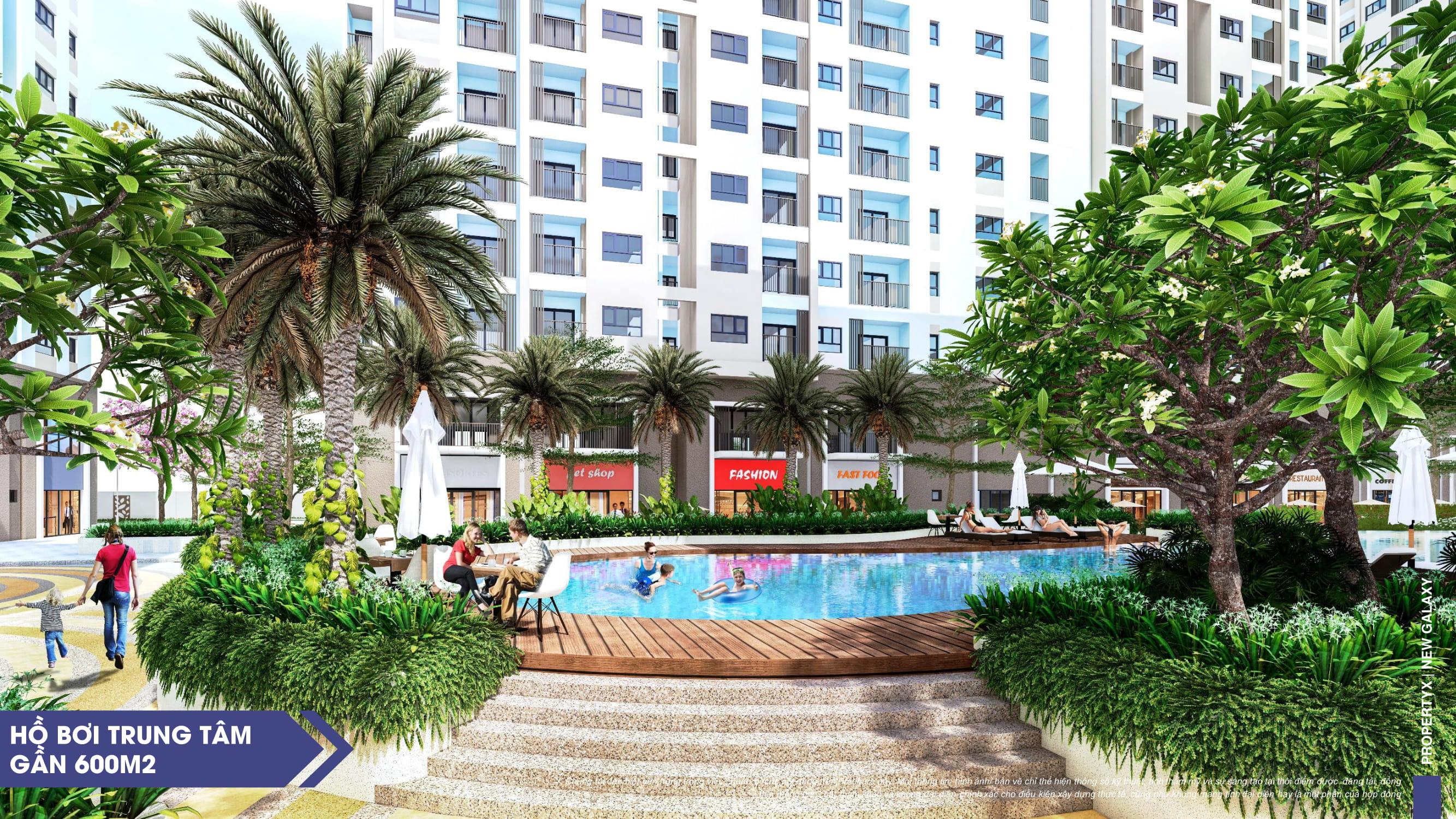 Hồ bơi nội khu dự án căn hộ New Galaxy rộng 6000m2
