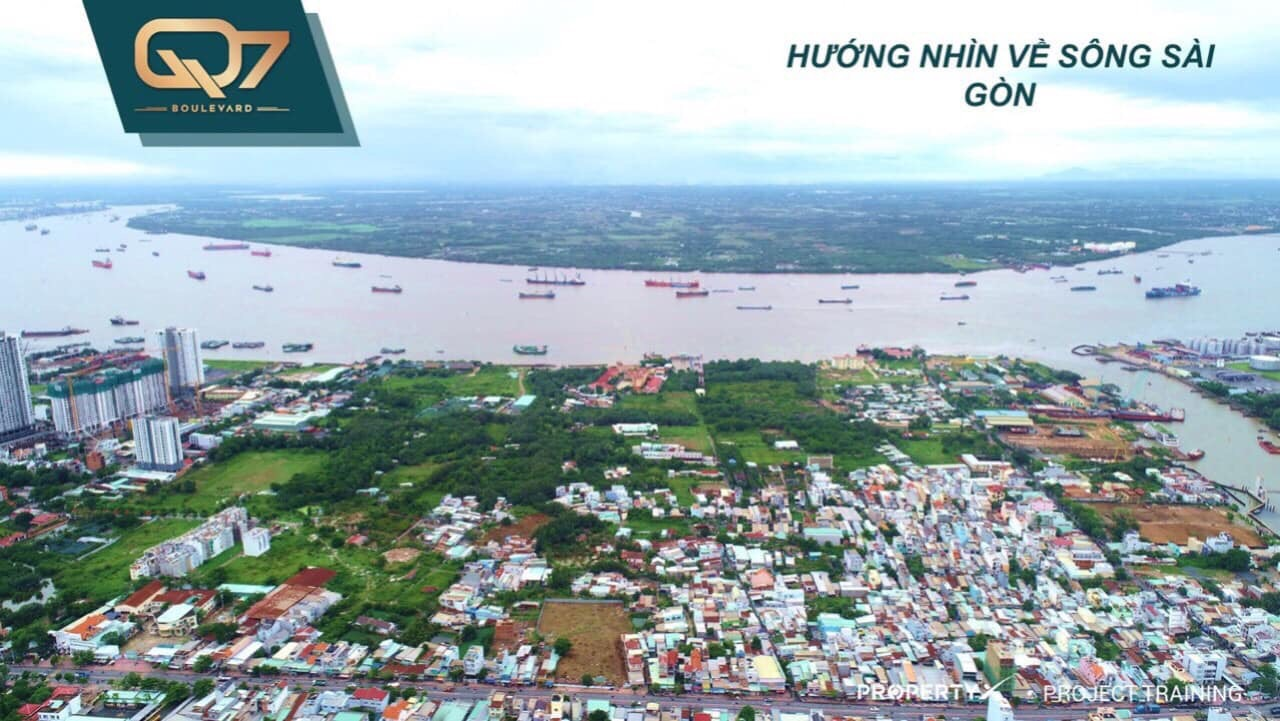 Từ Q7 Bouleavard nhìn về sông Sài Gòn