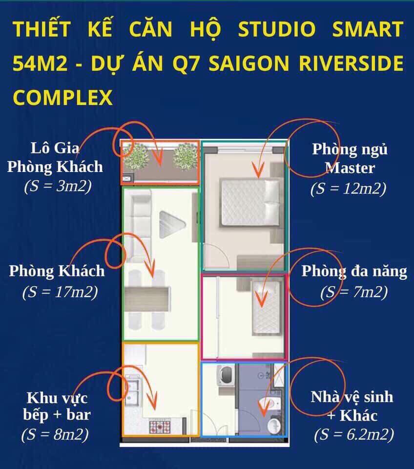 Thiết kế chi tiết mẫu căn 2PN 1WWC 53m2 dự án Q7 Saigon Riverside Complex
