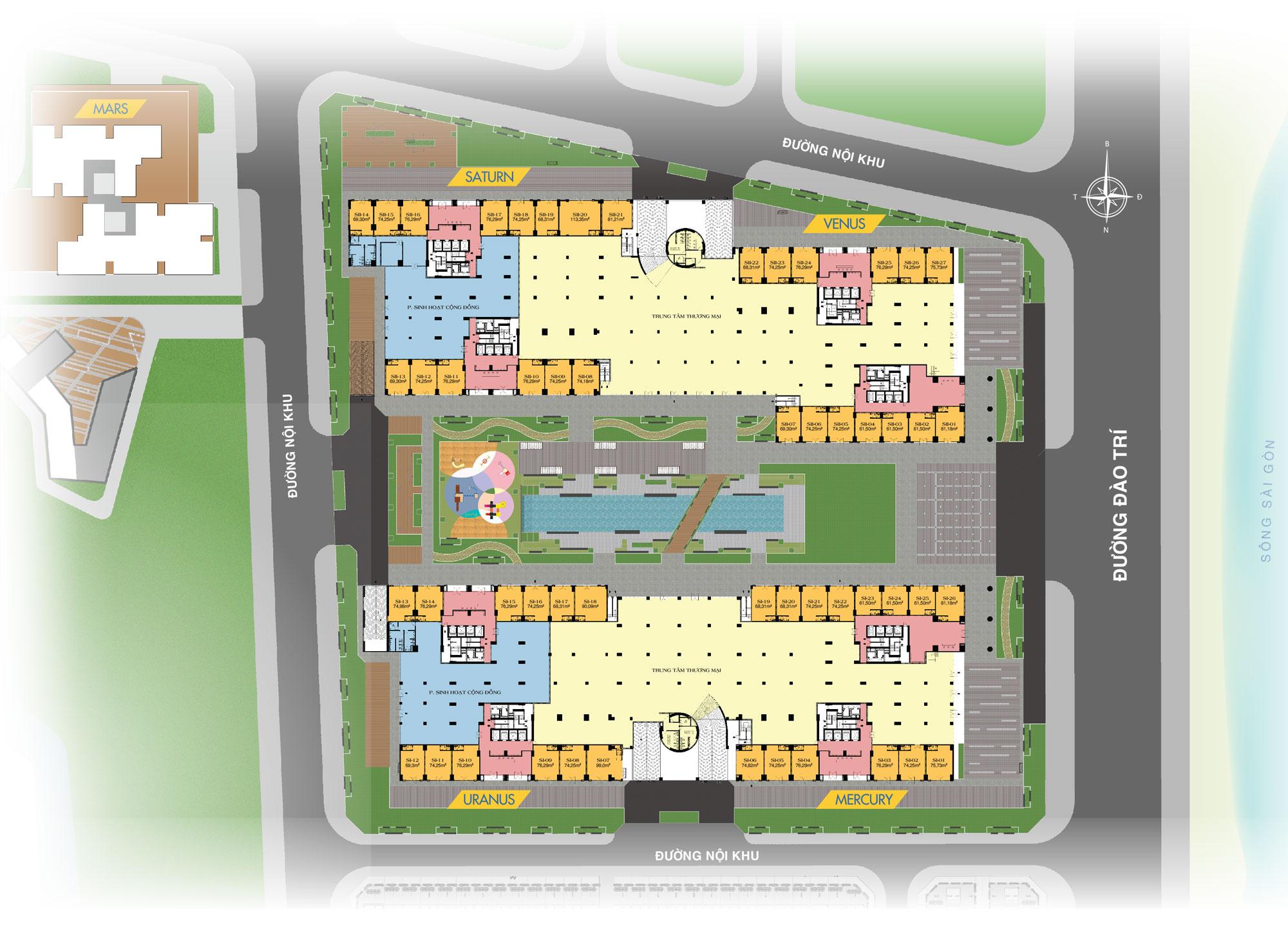 Mặt bằng căn trệ thương mại Q7 Saigon Riverside Complex