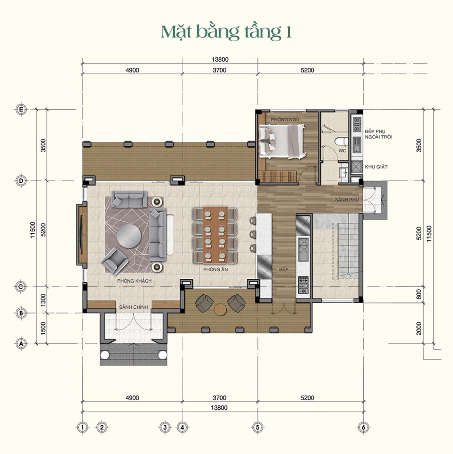 Thiết kế chi tiết tầng 1 mẫu biệt thự Saigon Garden Riveverside Village Quận 9