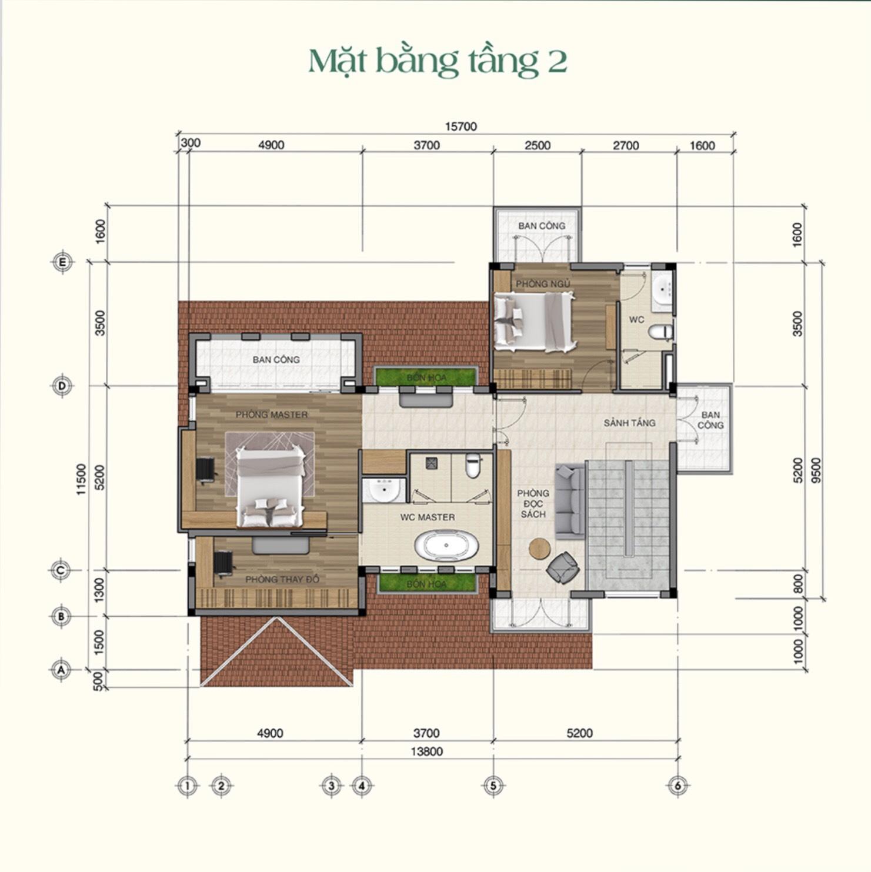 Thiết kế chi tiết tầng 2 mẫu biệt thự Saigon Garden Riveverside Village Quận 9