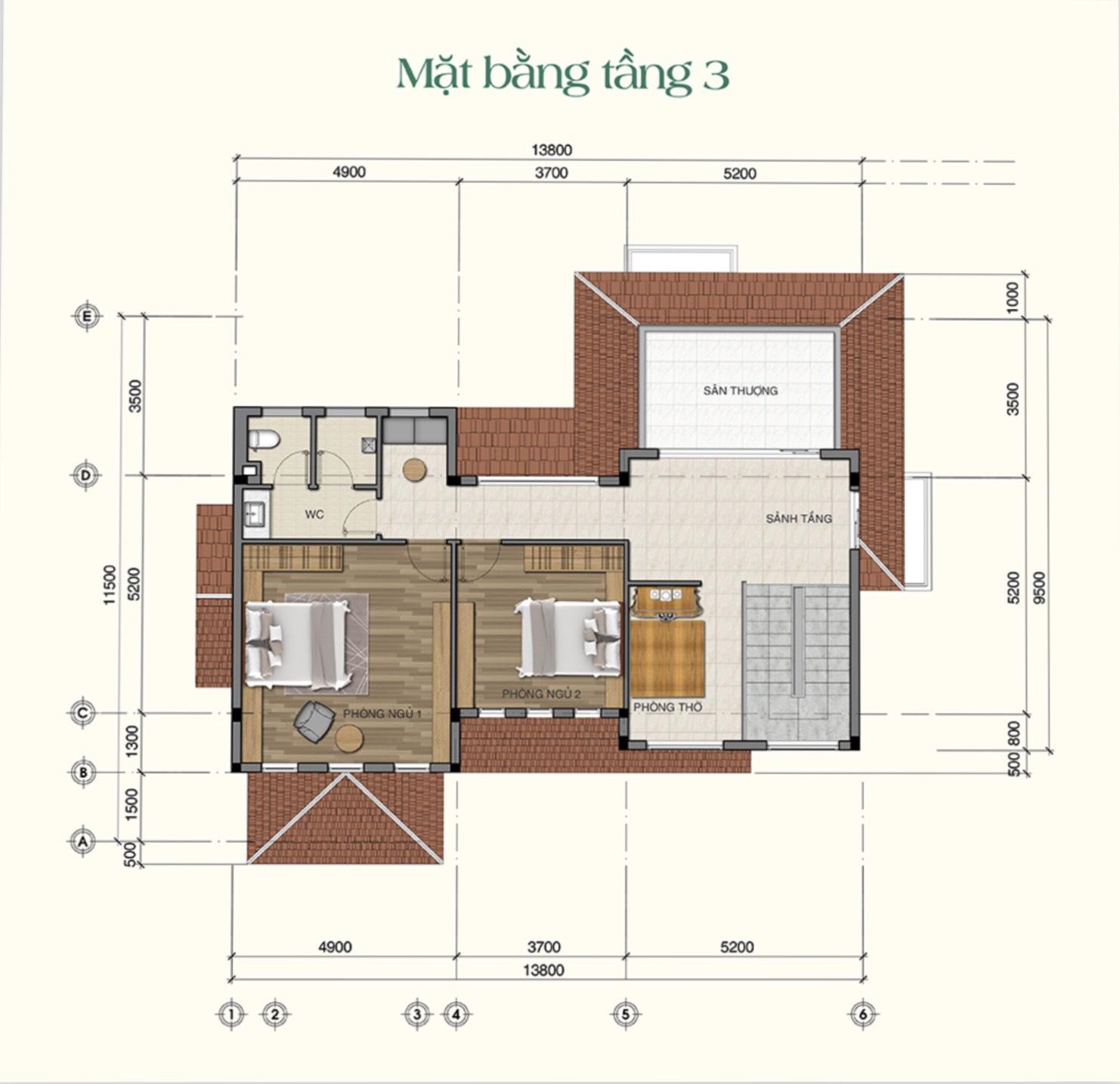 Thiết kế chi tiết tầng 3 mẫu biệt thự Saigon Garden Riverside Village Quận 9 Hưng Thịnh
