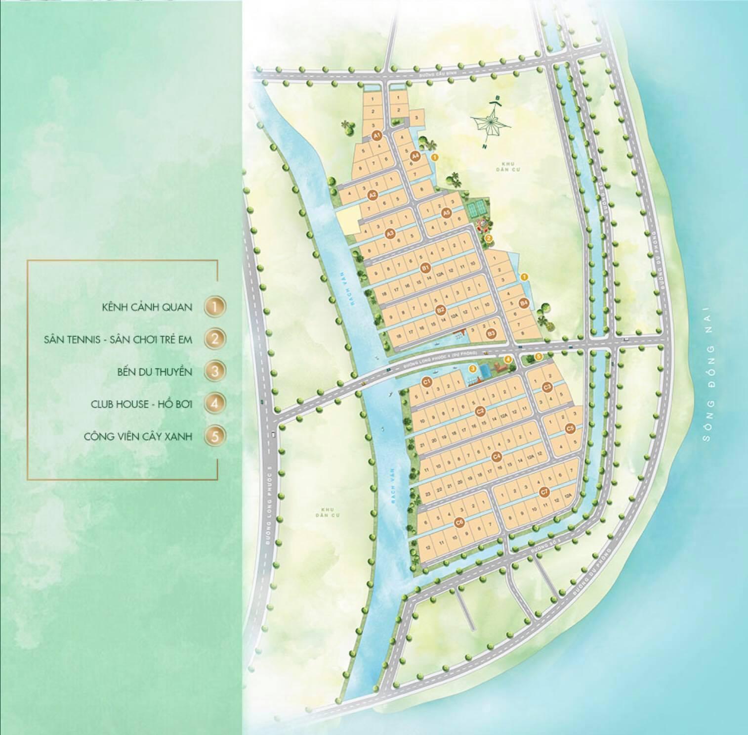 Mặt bằng tổng thể khu biệt thự vườn Saigon Garden Riverside Village Quận 9