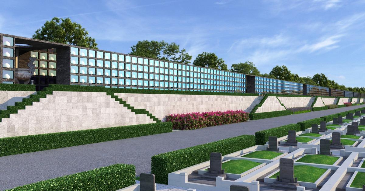 Tường đá lưu cốt nghĩa trang Sala Garden