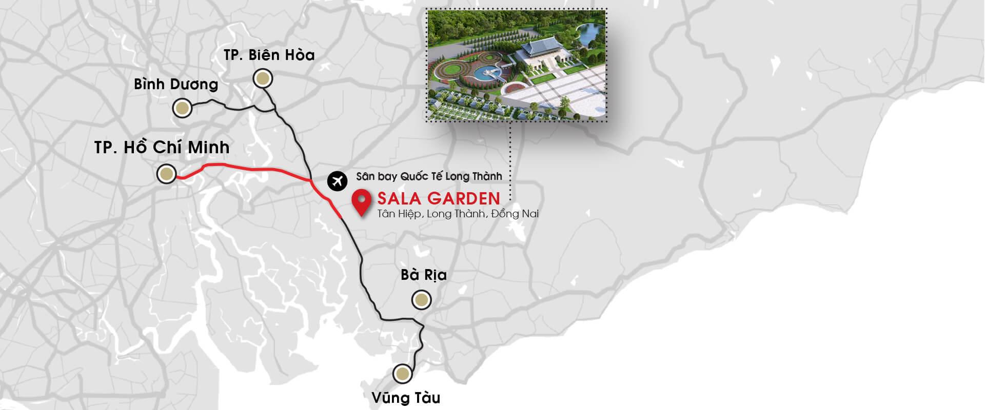 Vị trí độc tôn nghĩa trang Sala Garden