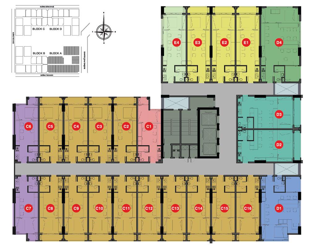 Mặt bằng tầng offcetel dự án Sky Center quận Tân Bình của tập đoàn Hưng Thịnh