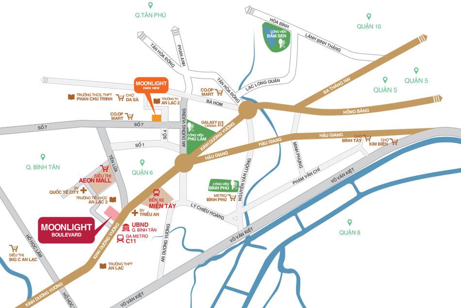 Vị trí dự án Moonlight Boulevard quận Bình Tân