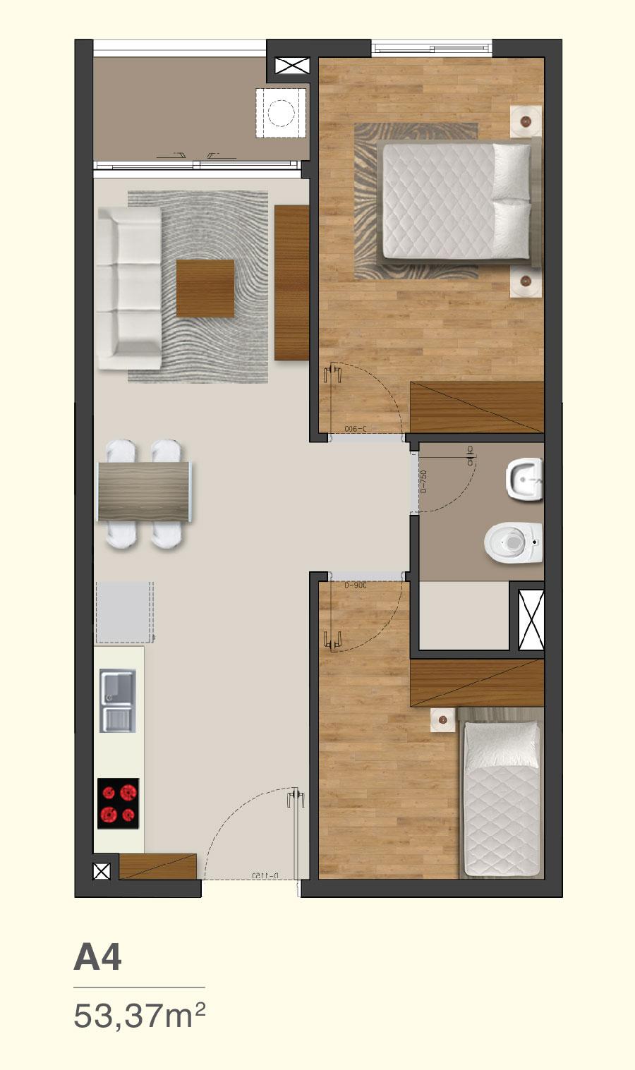 Mẫu căn hộ 2 PN dự án Moonlight Park View quận Bình Tân Hưng Thịnh