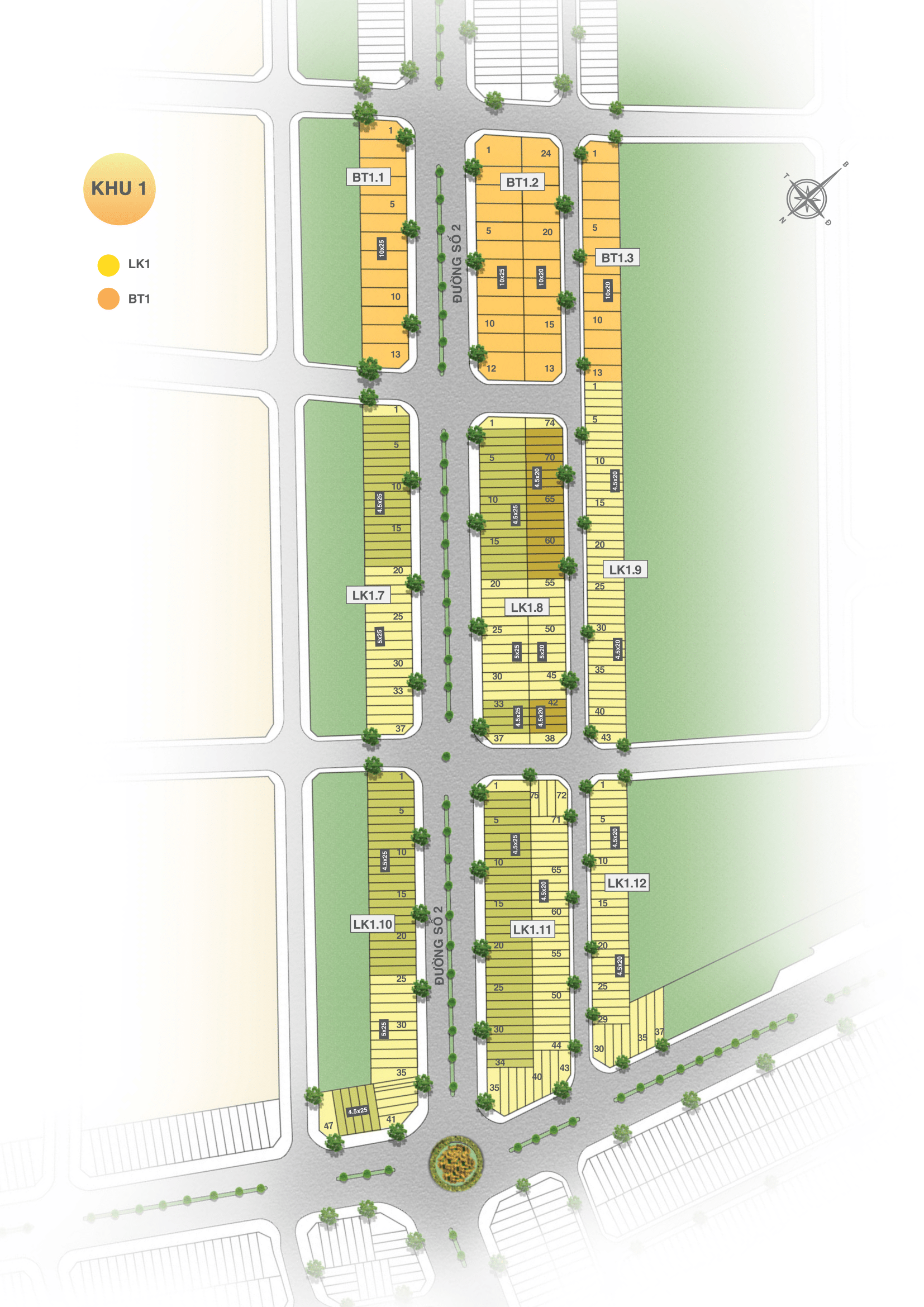 Mặt bằng phân khu 1 dự án đất nền Vinh Long New Town