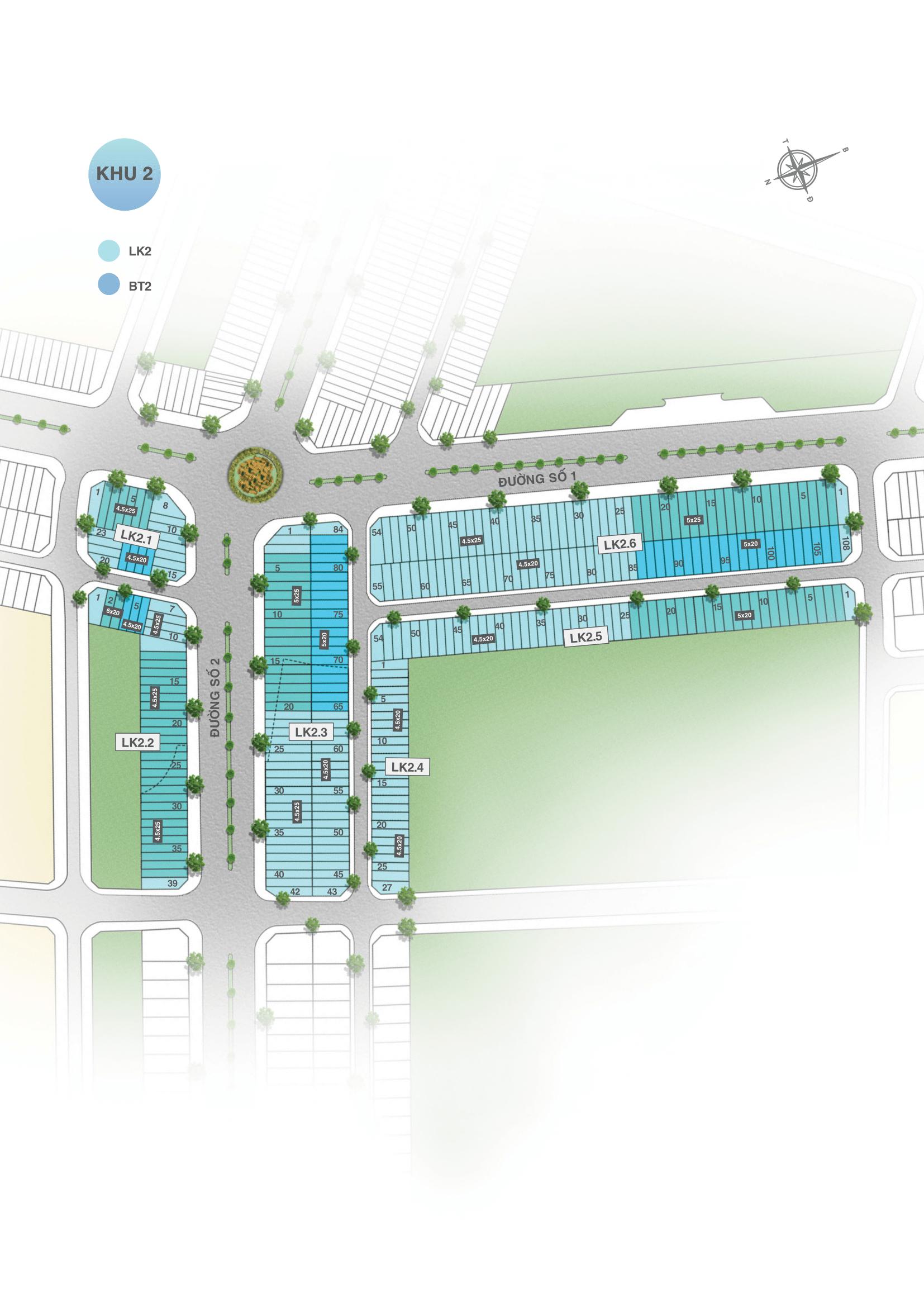 Mặt bằng phân khu 2 dự án đất nền Vinh Long New Town