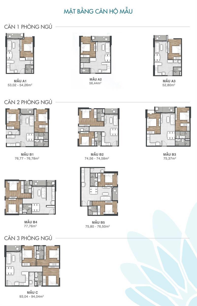 Thiết kế chi tiết  các loại căn hộ Vung Tau Pearl
